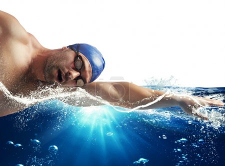 Swimmer swims in the sea