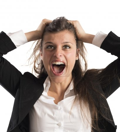 Photo for Furious businesswoman stressed out from work screams - Royalty Free Image