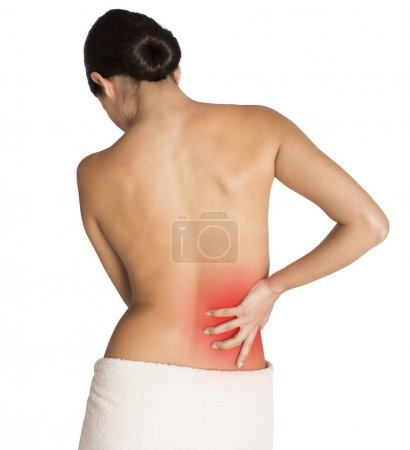 Photo pour Femme souffrant de maux de dos pour une contracture - image libre de droit