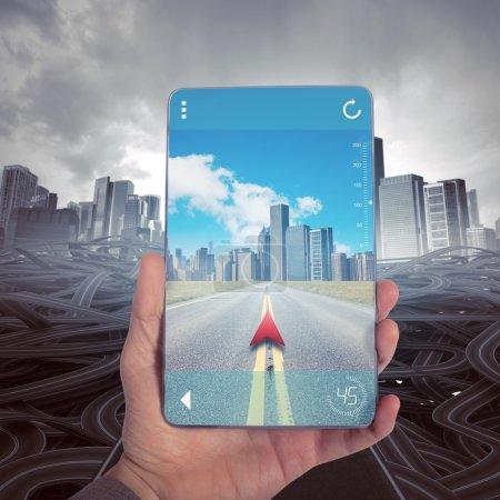 Photo pour Atteindre une bonne destination avec GPS Navigator - image libre de droit