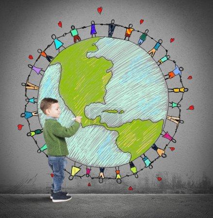 Photo pour L'enfant dessine le monde avec des gens qui se tiennent la main - image libre de droit