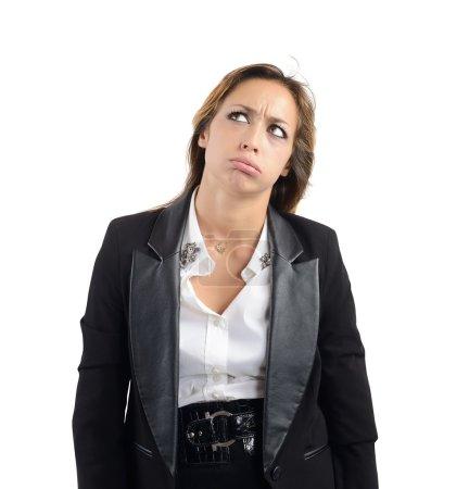 Photo pour Femme d'affaires fatiguée et ennuyée par son travail - image libre de droit