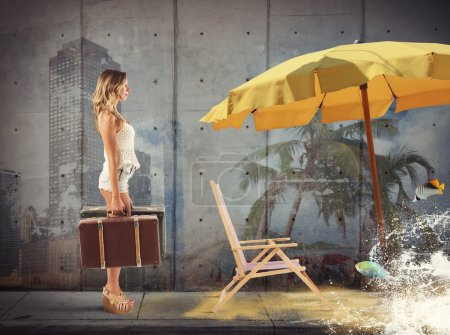 Girl walking toward the sand