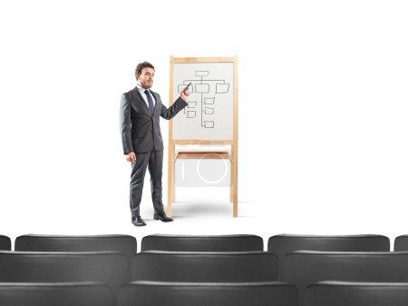 Homme d'affaires montre le plan de travail