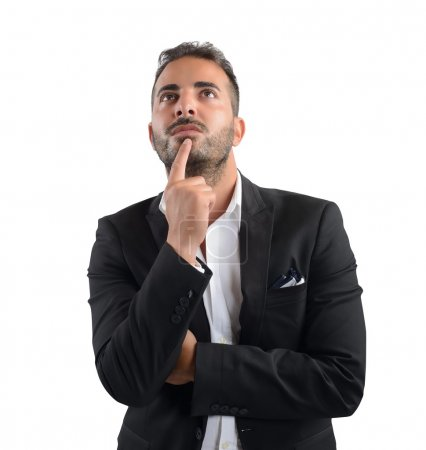 Businessman thinking about decision