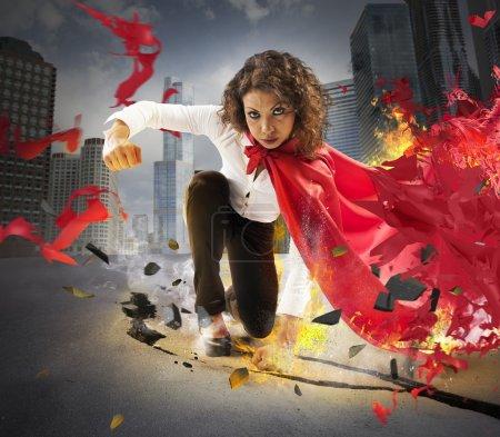Determined hero businesswoman