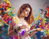 "Постер, картина, фотообои ""женщина с кисти и палитра"""