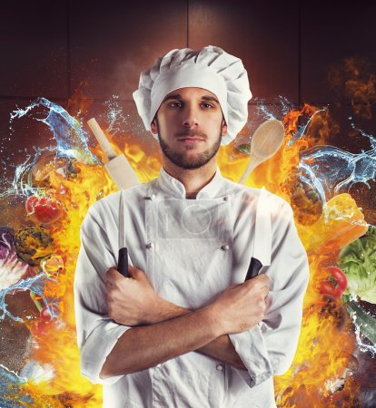 Extraordinary chef with knives