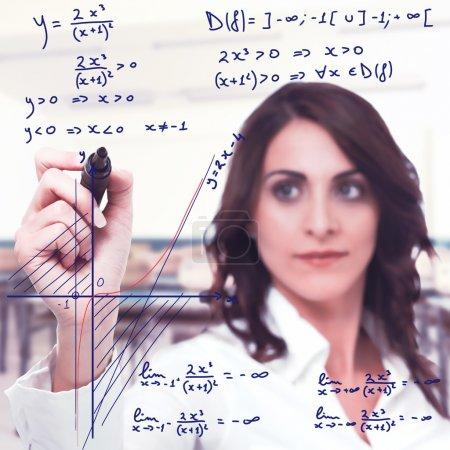 woman solve a complicated mathematical function