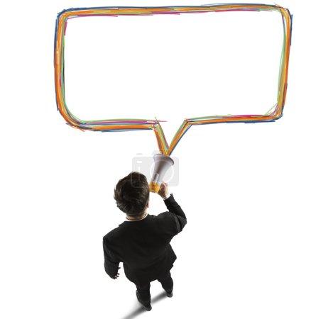Businessman speaks with megaphone