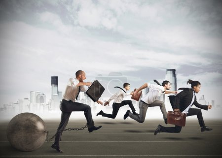 Photo for Businessmen competing with a man with obstacle - Royalty Free Image