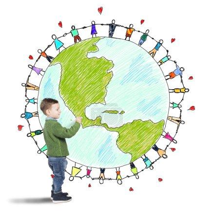 Photo pour Enfant attire le monde avec des gens tenant par la main - image libre de droit