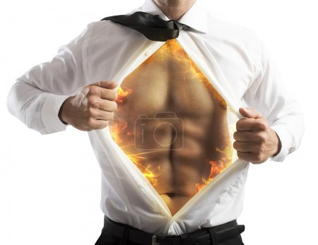 Businessman opens shirt