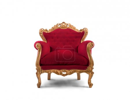 Red and gold luxury armchair
