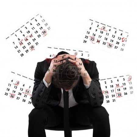 Photo for Businessman worried and stressed out by deadlines - Royalty Free Image