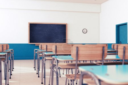 Photo for Empty school classroom with desks and chairs - Royalty Free Image