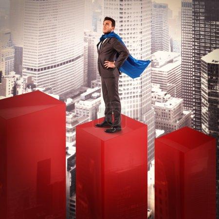 Businessman dressed as a hero