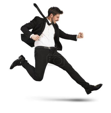 Businessman quickly runs
