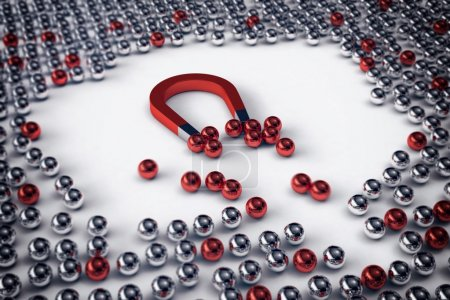 magnet attracts the red balls