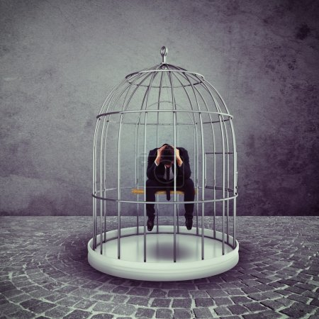 businessman in a bird cage