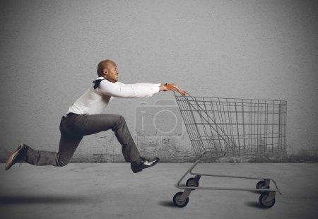 man run to go shopping