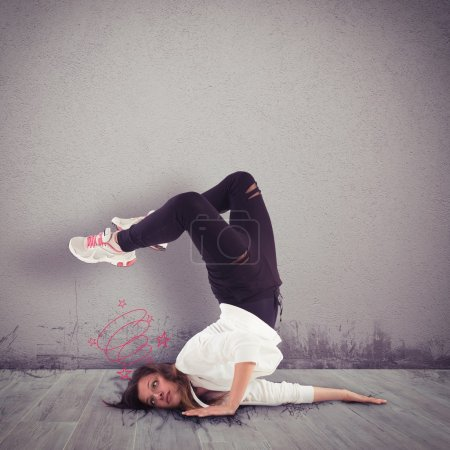 Girl dancer hits her head