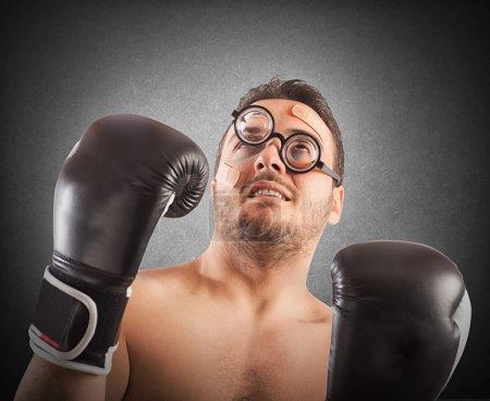 Goofy boxer with nerd eyeglasses