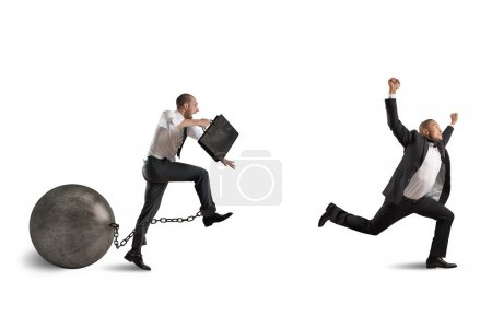 businessman competing with a businessman with obstacle