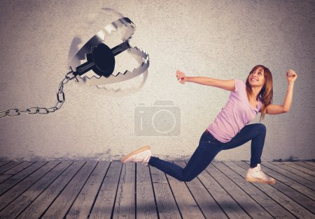 woman chased by a trap
