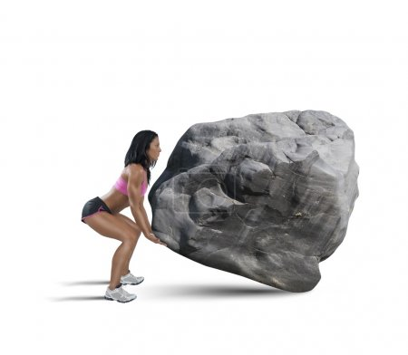Photo for Muscular woman lifts a big heavy boulder on white background - Royalty Free Image