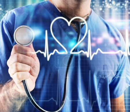 Photo for Male doctor with stethoscope and graphic heartbeat background - Royalty Free Image