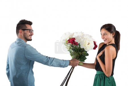Lover man gives flowers