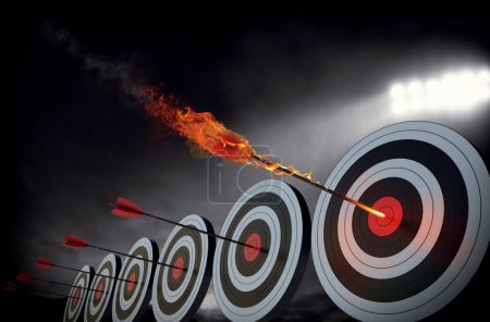 Foto de Flechas llameantes golpear el centro de los objetivos - Imagen libre de derechos
