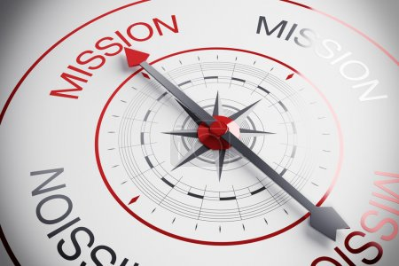 Compass with the word mission