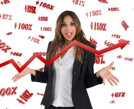 Businesswoman with rates and arrow