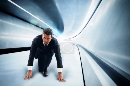 Businessman in a futuristic tunnel