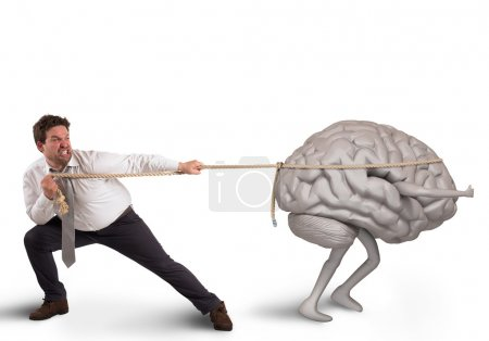 Man pulls rope with brain