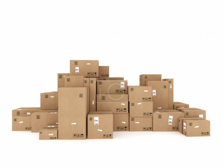 Photo for Closed cardboard boxes wrapped with adhesive packaged to be shipped - Royalty Free Image