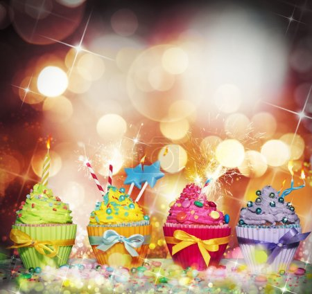 background with colourful cupcakes