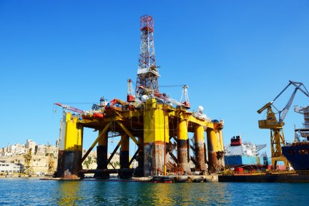 Oil platform in repair in the Industrial dock of Malta