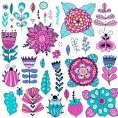 Set of vector flowers graphic collection