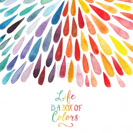 Illustration for Vector watercolor colorful abstract background. Collection of paint splash watercolor drops. Vector set of brush strokes. Isolated on white background. Lettering quote - Royalty Free Image