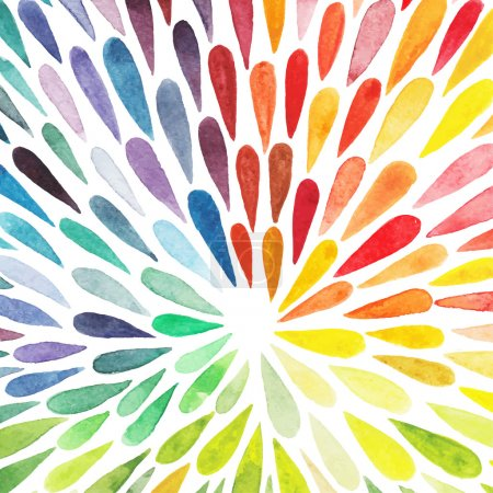 Illustration for Vector watercolor colorful abstract background. Collection of paint splash watercolor drops. Vector set of brush strokes. Isolated on white background - Royalty Free Image