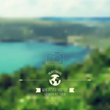 Illustration for Vector blure landscape with hipster badge. Lake view. Mountains. Retro label design. Retro backdrop. Blur. Bokeh. Maritime. Landscape. Travel design, glob, planet and ribbon - Royalty Free Image
