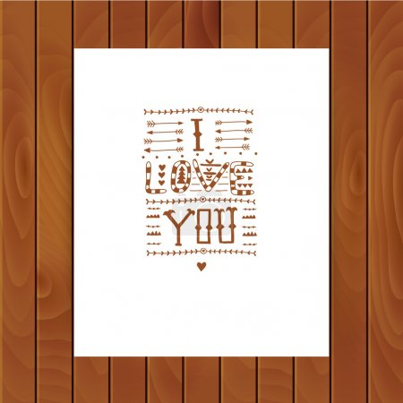 "Tribal lettering ""I love you""."