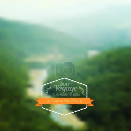 Illustration pour Paysage flou vectoriel, badge de voyage, étiquette de voyage, vue sur la nature. Paradis tropical. Montagnes vertes, modèle d'interface web et mobile. Conception de site Web de voyage . - image libre de droit