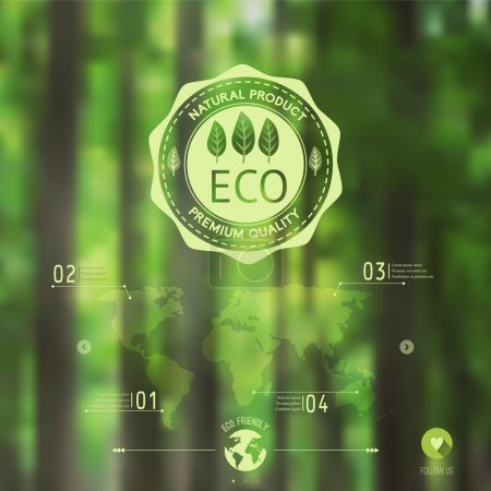 Illustration for Vector blurred landscape, forest, eco badge, ecology label, nature view. Forest blur background, web and mobile interface template. Eco design. - Royalty Free Image