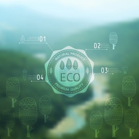 Illustration for Vector blurred landscape, eco badge, ecology label, nature view. Tropical paradise. Green mountains, web and mobile interface template. Travel website design. - Royalty Free Image