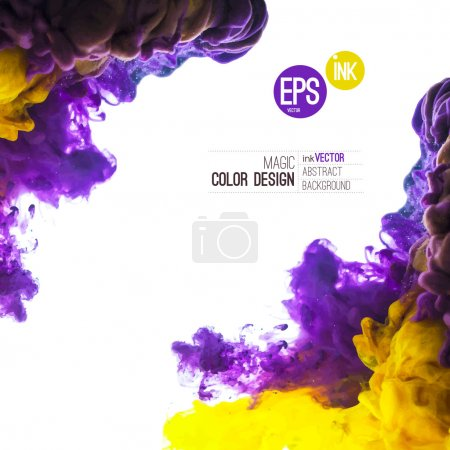 Illustration for Vector Ink swirling in water, cloud of ink in water isolated on white. Abstract banner paints. Holi. Liquid cloud. Purple background for banner, card, poster, label or web design. Abstract corner. - Royalty Free Image