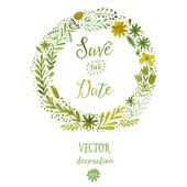 Vector watercolor colorful circular floral wreaths with summer flowers and central white copyspace for your text Vector handdrawn sketch of wreath with flowers Save the date